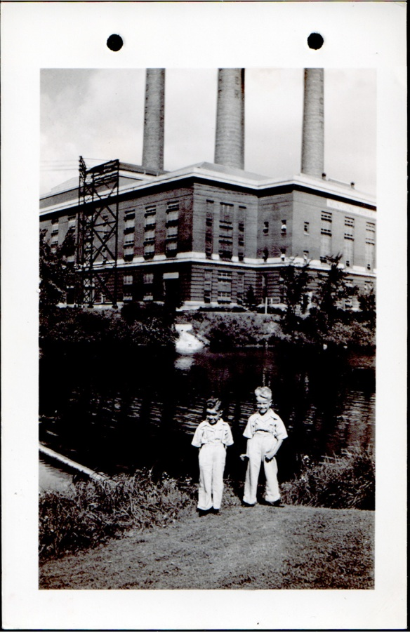 Bruce and Duane in front of Lansing Power & Light building